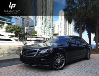 Black Mercedez Benz S550- Paramount Luxury rentals- Front Angle